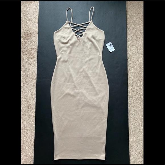 Strappy Neck Bodycon Midi Dress